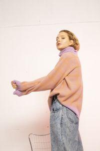 Sato turtleneck merino sweater purple / orange