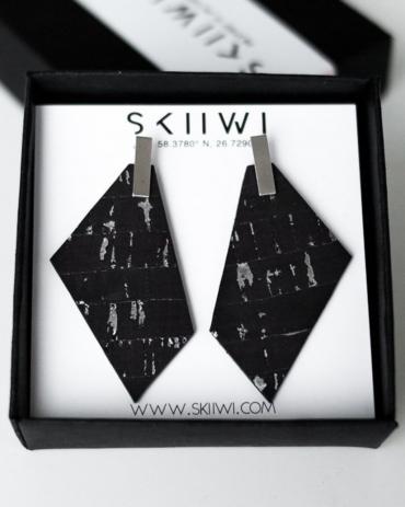 Skiiwi Polygon Berry-Silver Kõrvarõngad