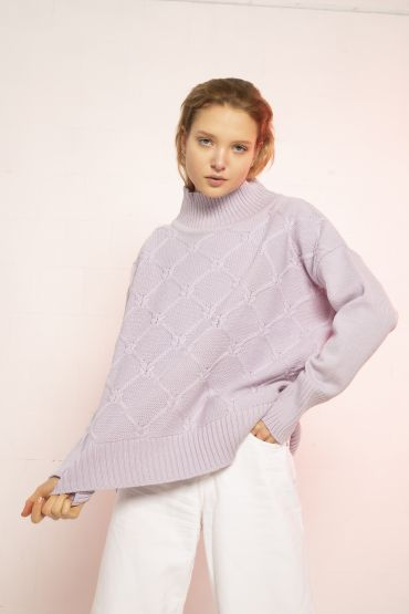 Kai merino jumper purple heather
