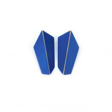 Lisa Kroeber Earrings Folded Vertical Dark Blue