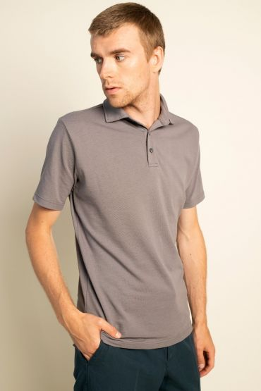 Piqué polo shirt grey