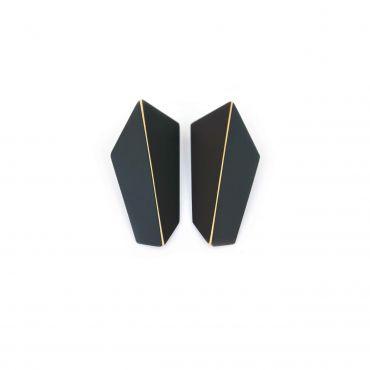 Lisa Kroeber Earrings Folded Vertical Black