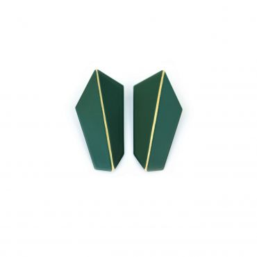 Lisa Kroeber Earrings Folded Vertical Green Moss