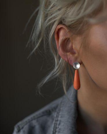 Helge Lana coral shell silver earrings