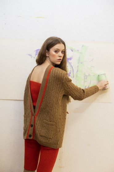 Mau merino cardigan brown sugar