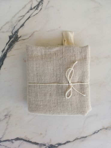 Koos linen grey textured towel