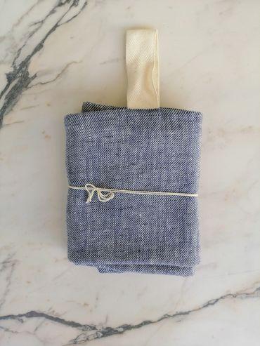 Koos linen blue towel