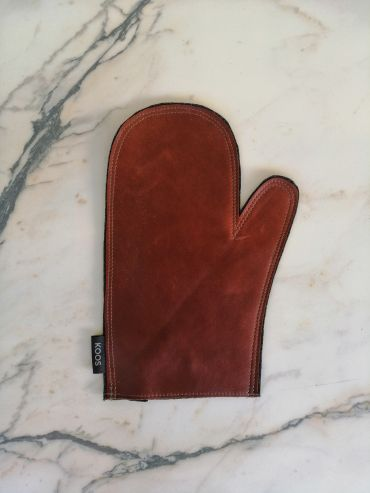 Koos leather brown oven mitten