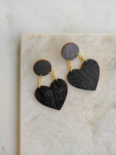La.Kiva black love earrings