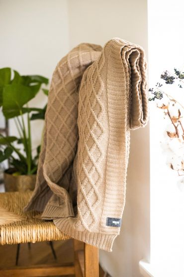 Rhombe merino throw beige