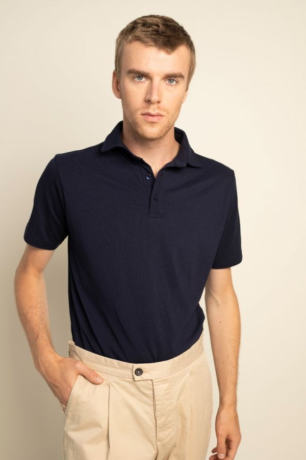 Piqué polo shirt navy