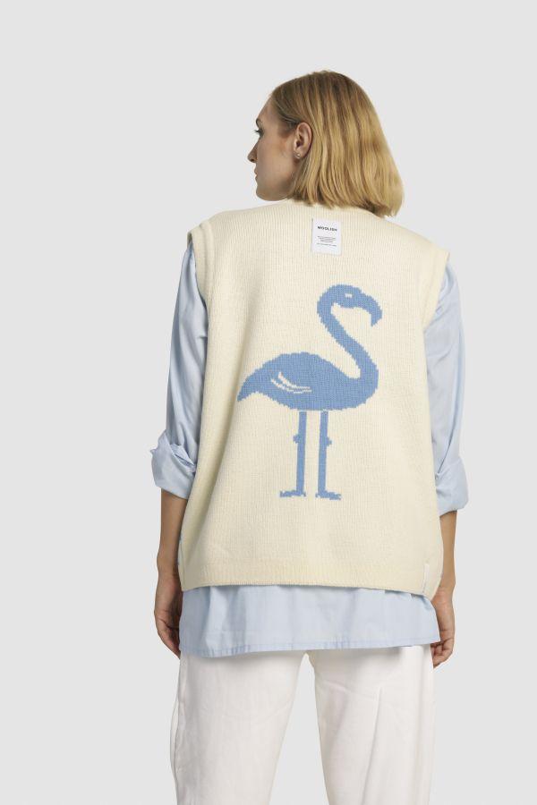 Flamingo ümberpööratav meriino kardigan-vest sinine