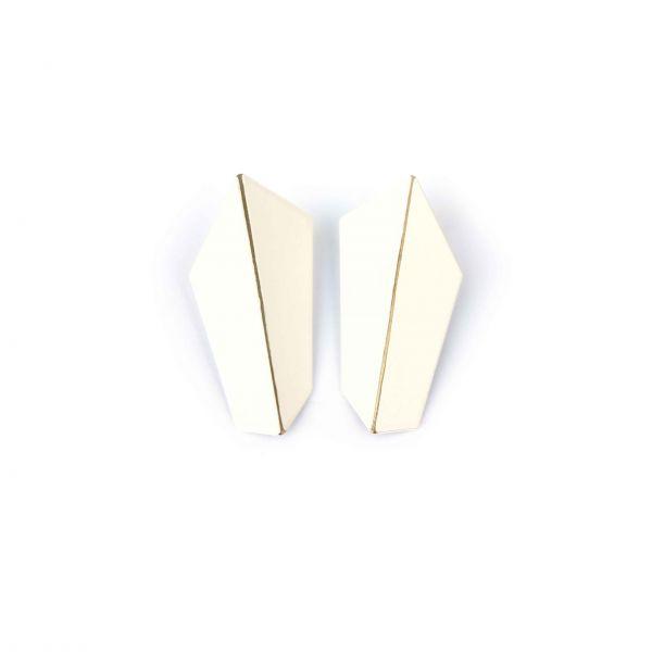 Lisa Kroeber Kõrvarõngad Folded Vertical Valge