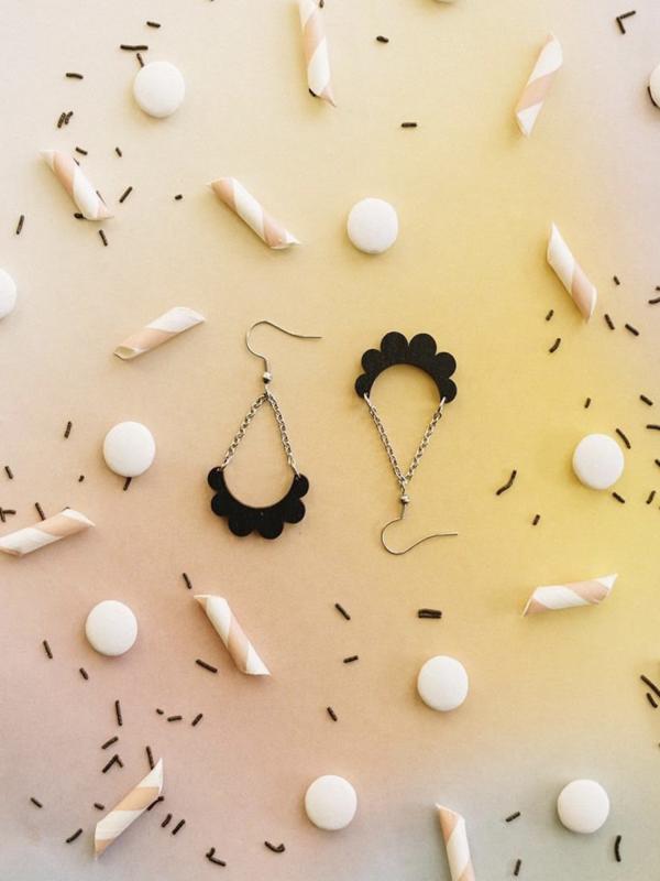 Kaarella mini black earrings