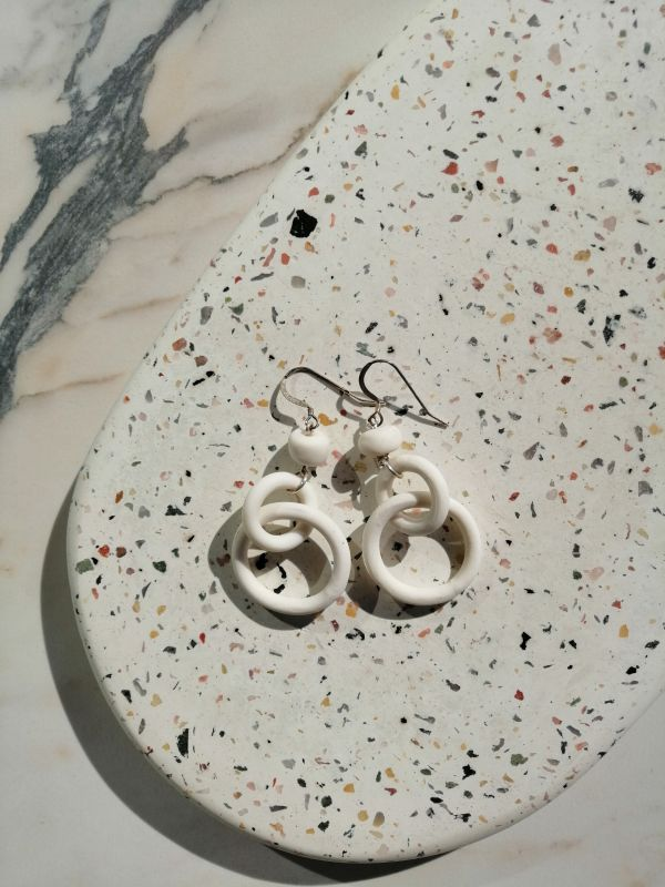 Tapfer white earrings