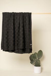Square throw charcoal grey